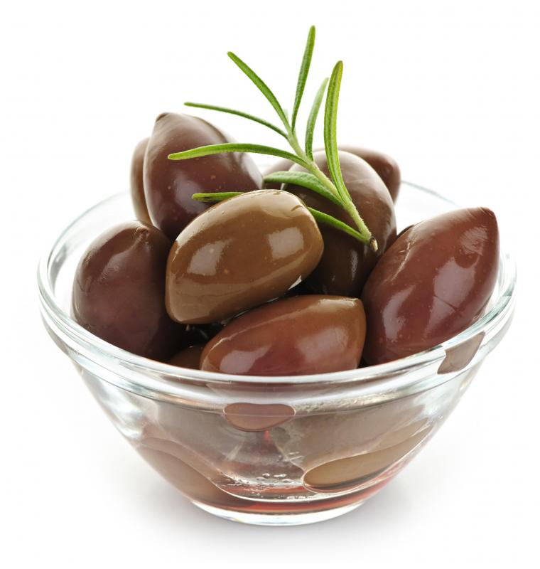 Kalamata olives, which are often included in feta salsa.