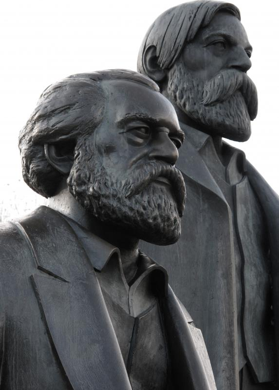 Sculpture of Karl Marx (foreground) and Friedrich Engels, who popularized communism.