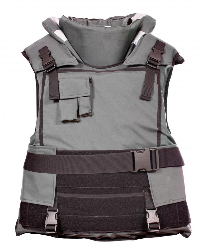 A bulletproof vest containing nylon.