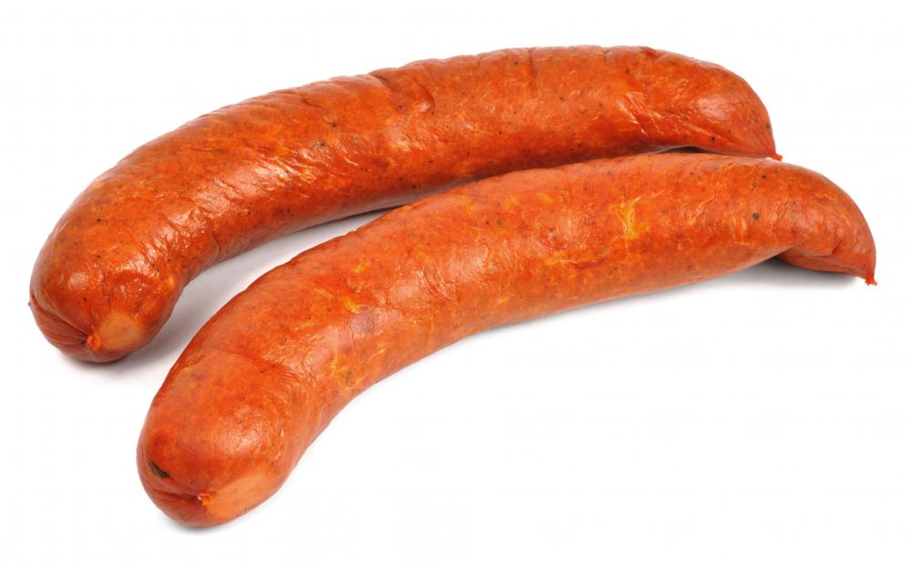 Kielbasa, which is commonly included in sausage sandwiches.