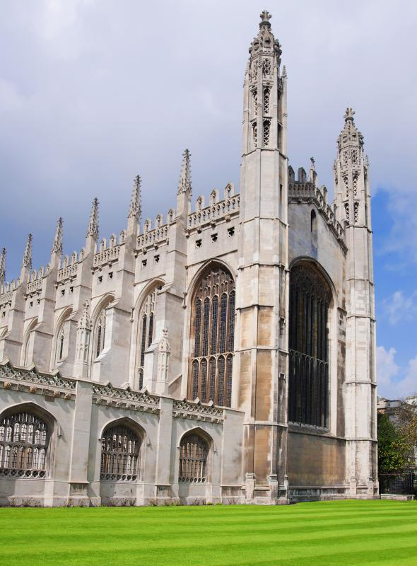 King's College Chapel at the University of Cambridge, which includes tracery to support the windows.