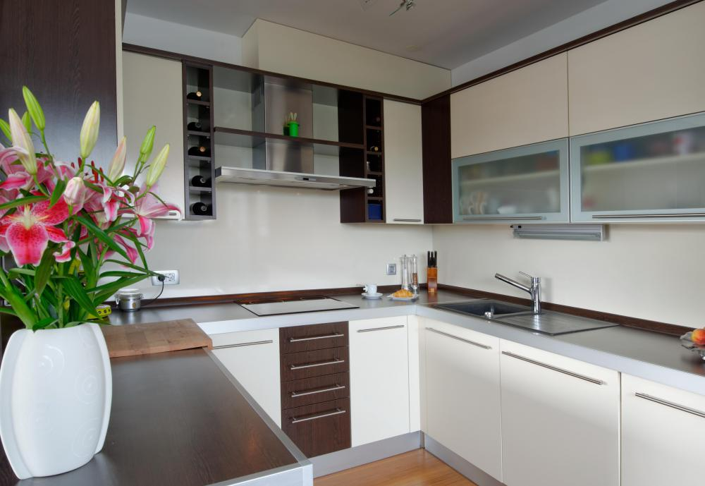 In a modular kitchen, inexpensive cabinets bought online often consist of pre-made cabinet parts that homeowners can install without having to call a professional.