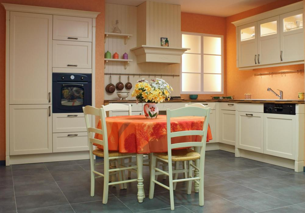 An eat-in kitchen can accommodate a kitchen table and chairs.