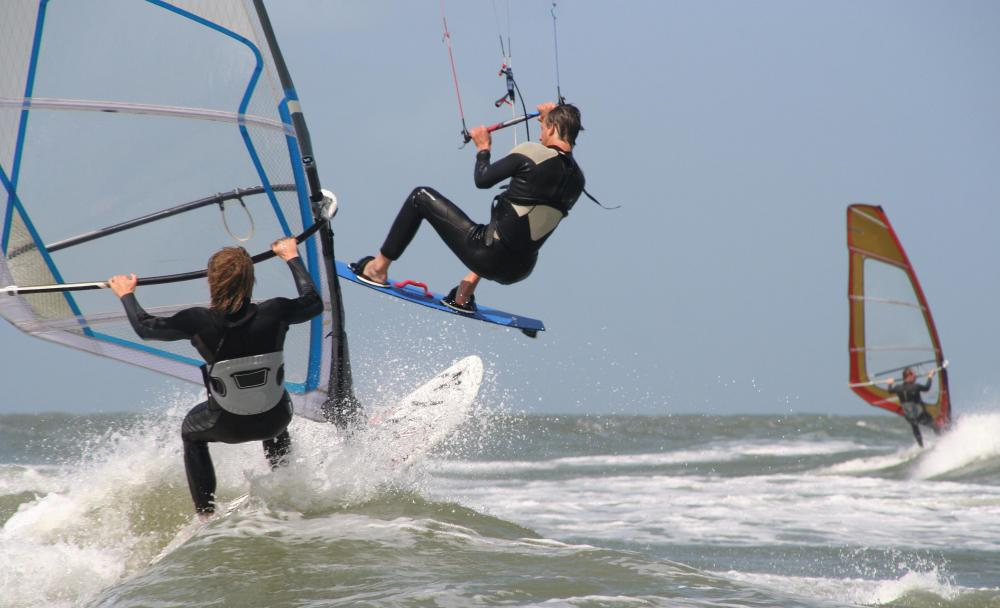 Sailboards, also known as windboards, are used in the sport of windsurfing.