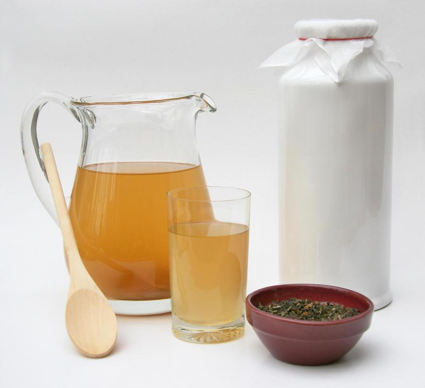 Ingredients for kombucha include green or black tea, sugar, and water.