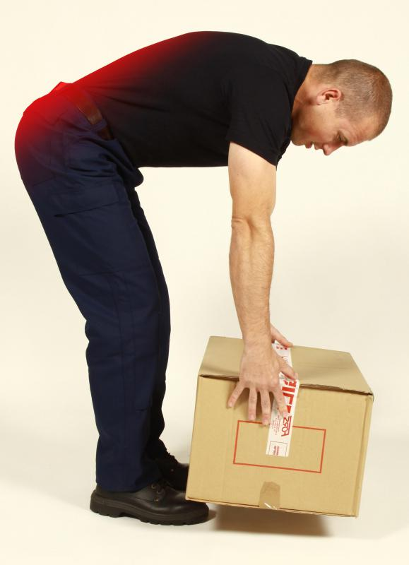 Improperly lifting a heavy object may cause a back strain.