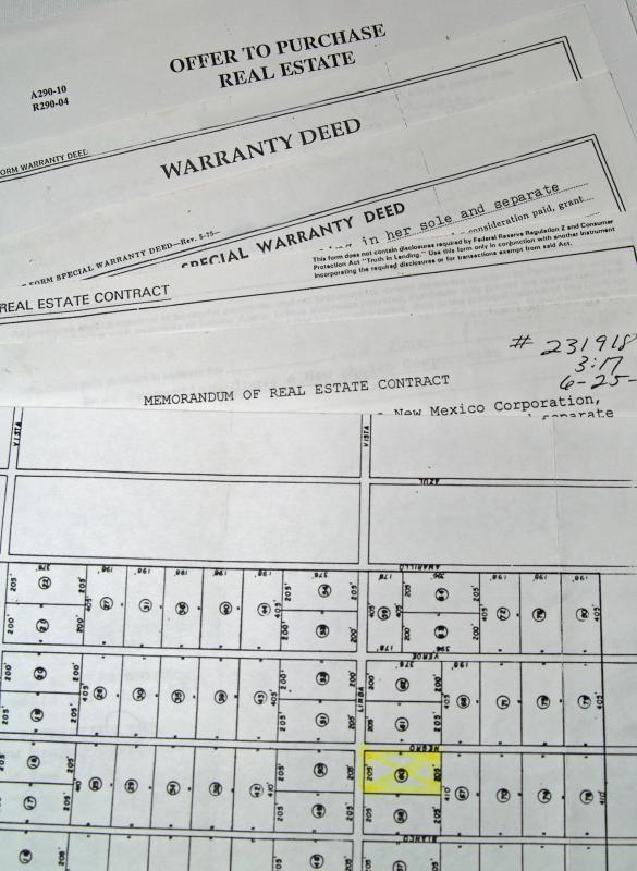 Documents associated with a real estate sale.