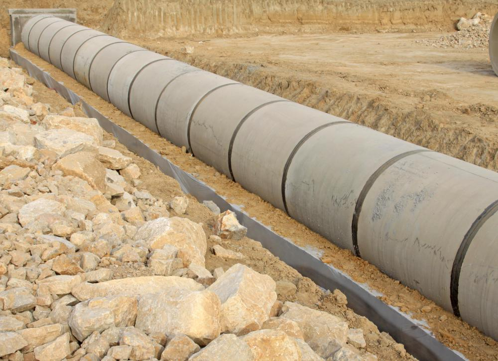 Drainage pipes can help prevent flooding and soil erosion by guiding water away from an area.