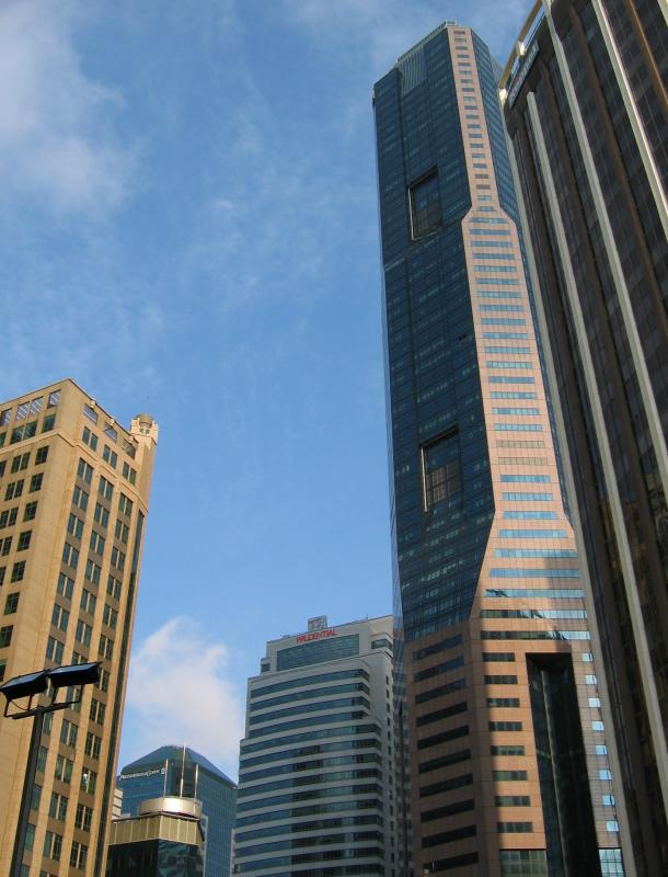 Skyscrapers typically have metal ceiling joists.