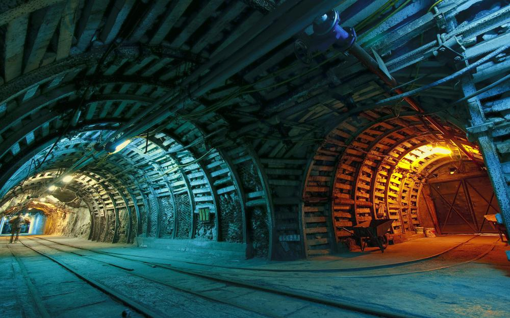 Large tunnels in a coal mine.