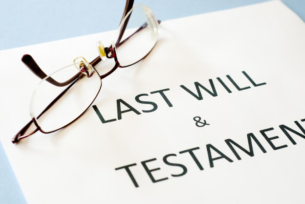 A last will and testament instructs how to properly distribute a person's assets after death.