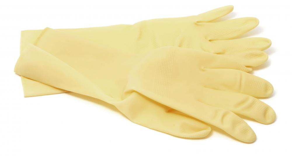 Latex exam gloves.