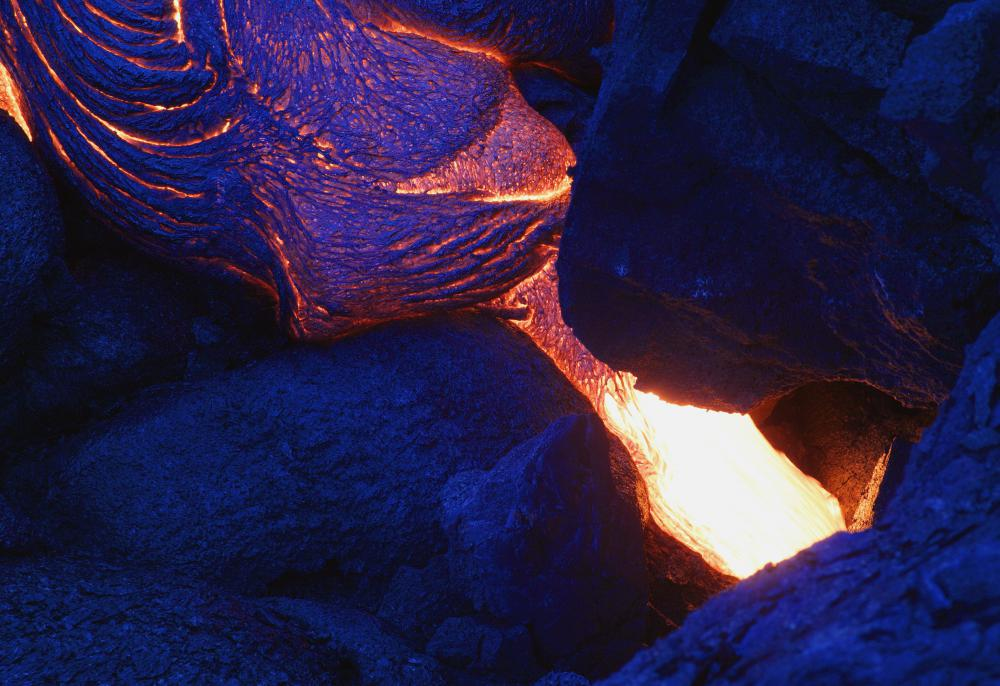 Lava can vary in color -- orange, red, brown and other colors -- depending on its heat.