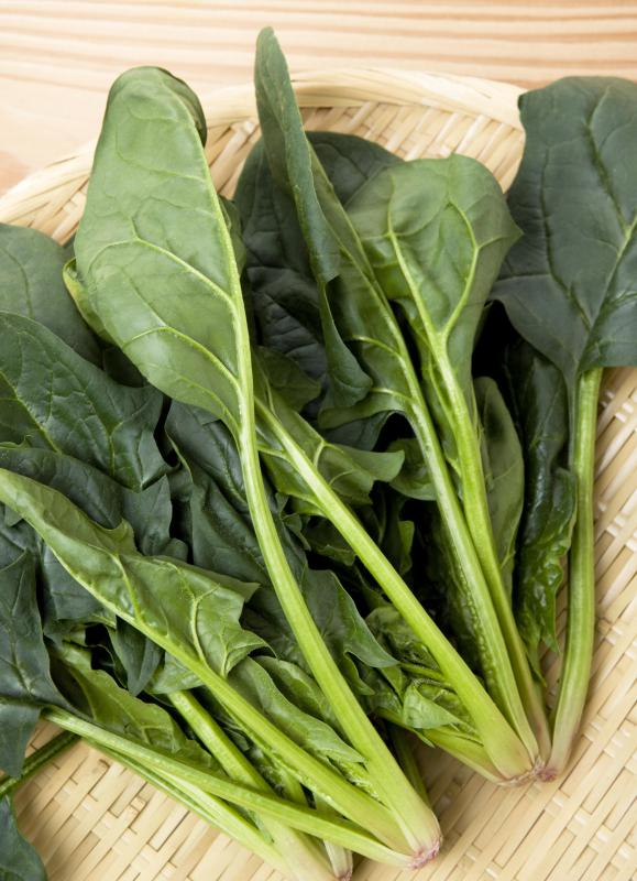 Leafy green vegetables are a good source of folic acid.