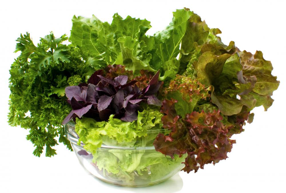 Leafy green vegetables contain lots of folate.