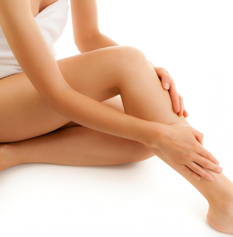 A woman with waxed legs.