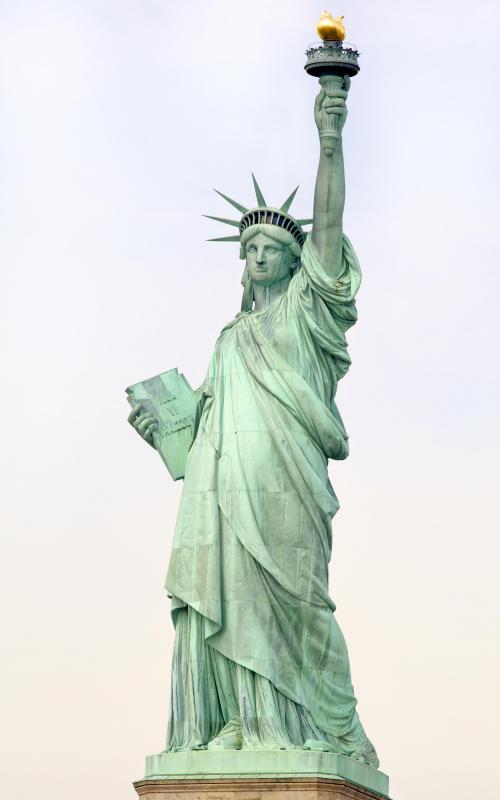 The Statue of Liberty, which is made out of copper, has developed a patina with age.