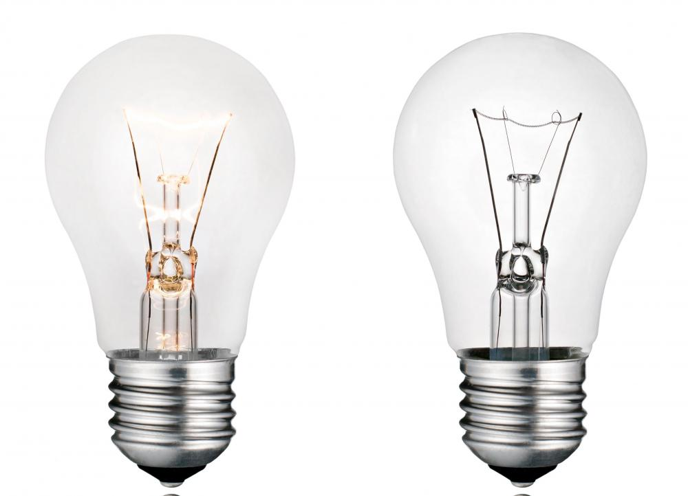 When powered, light bulbs transform the chemical energy inside the bulbs into light.