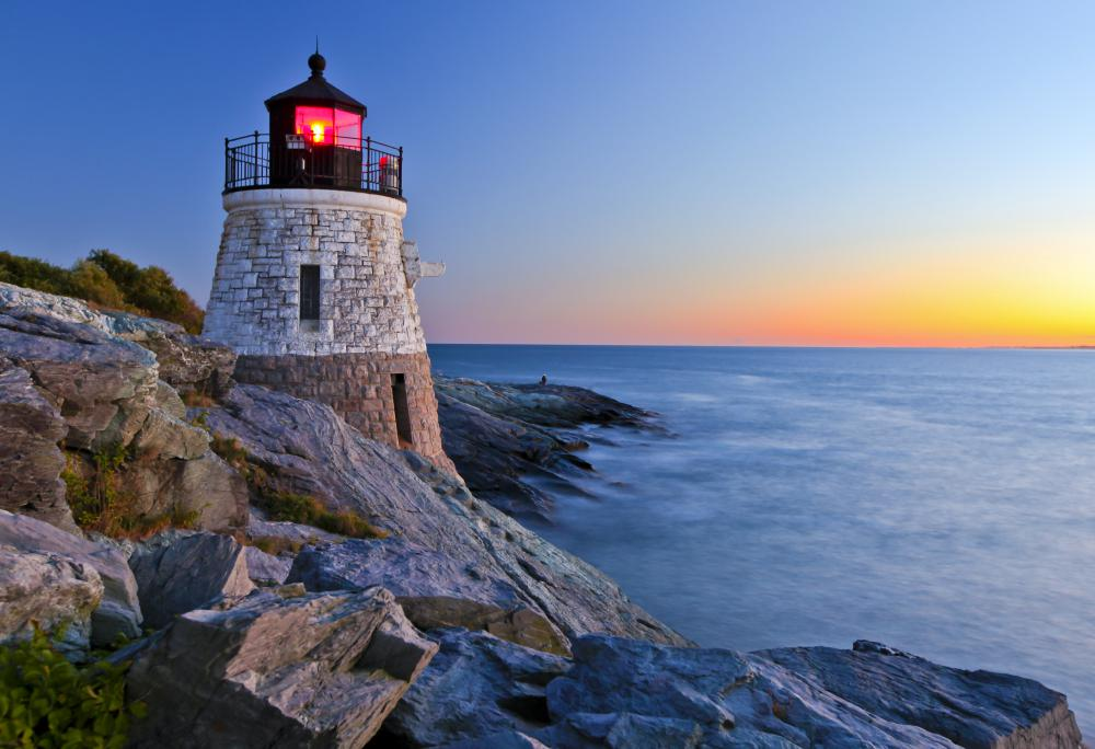 Lighthouse with a Fresnel spotlight.
