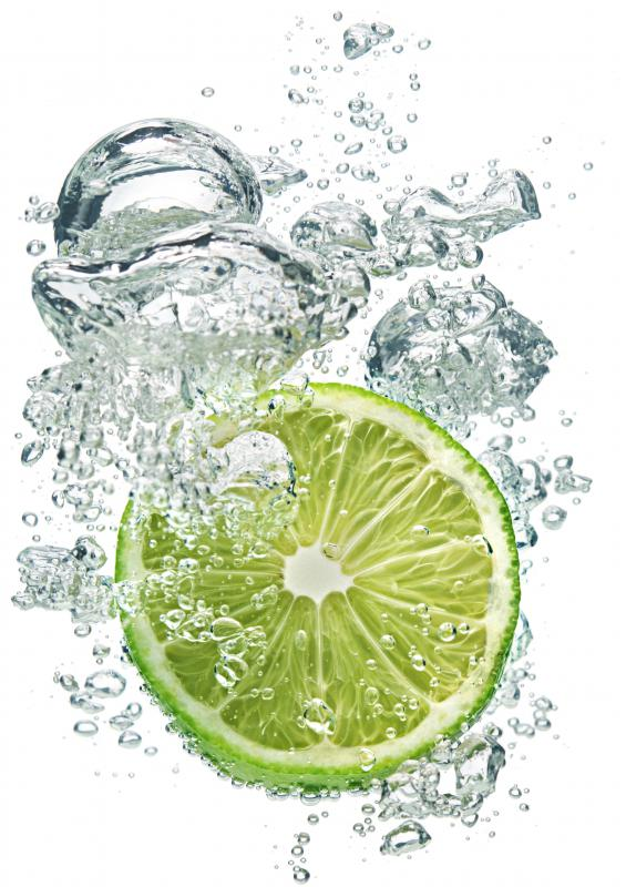 A sliced lime in water.