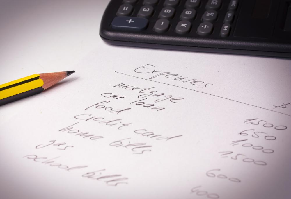 Writing out a list of monthly expenses can help people budget money.