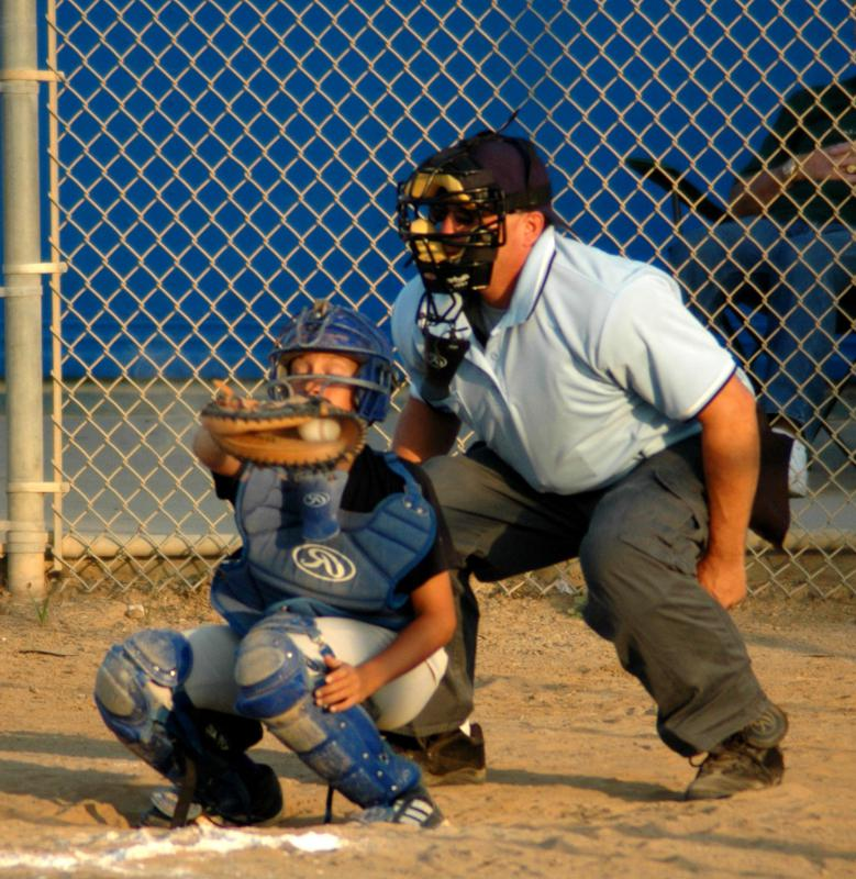 Umpires in baseball wear protective gear.