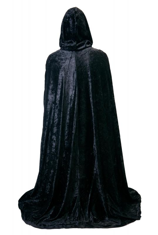 A cloak is a long outer garment that fastens at the neck.