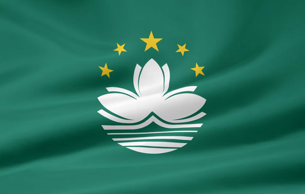 The flag of Macau, a Special Administrative Region of China. Portuguese is an official language of Macau.