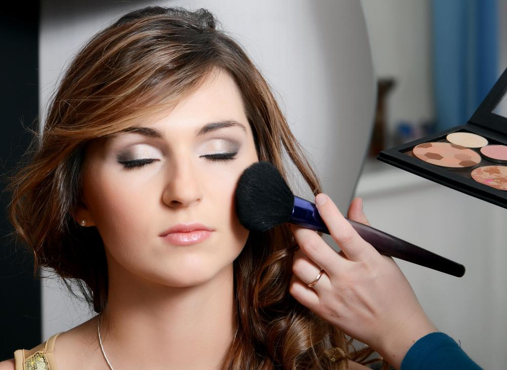 Blush is a type of makeup that is often applied to the cheek area to enhance appearance.