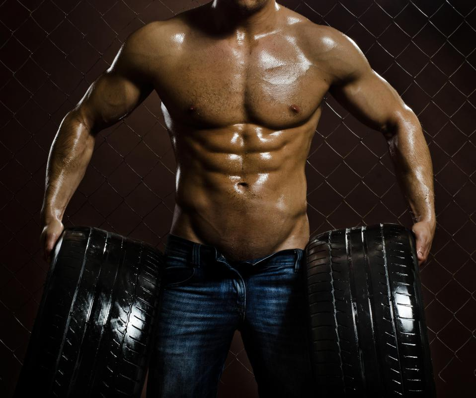 Bodybuilders may wear body oils to bring attention to their muscle definition and size.