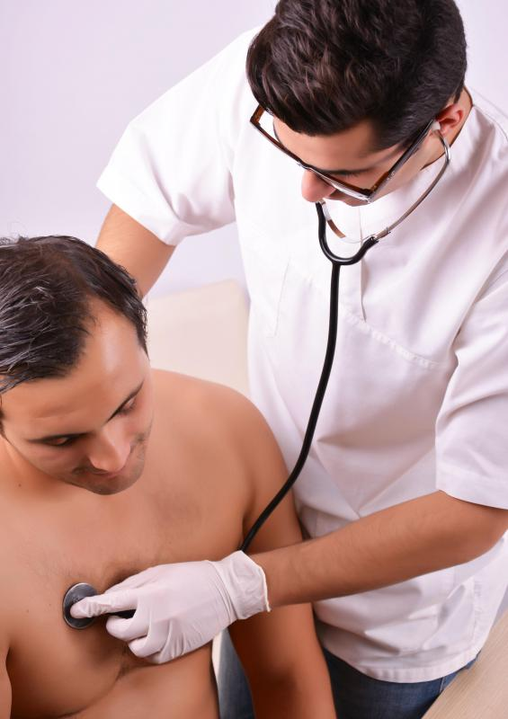 A chest exam using a stethoscope is one of the most common forms of non-invasive testing.