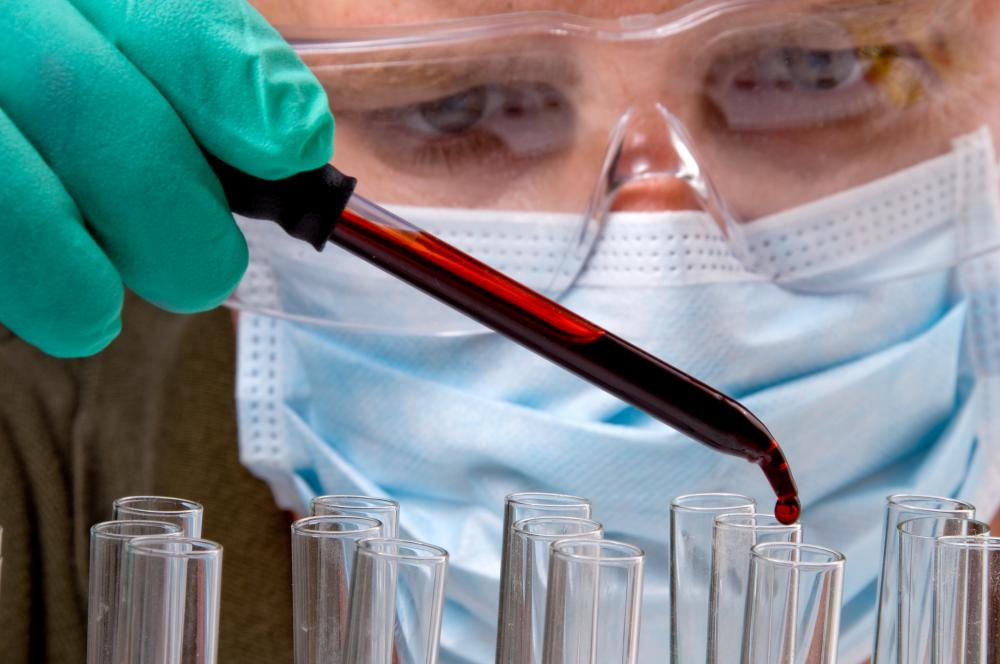 A forensic medical examiner may collect and analyze blood samples.