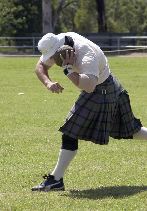 The Scottish sport of stone put is a precursor to the shot put.