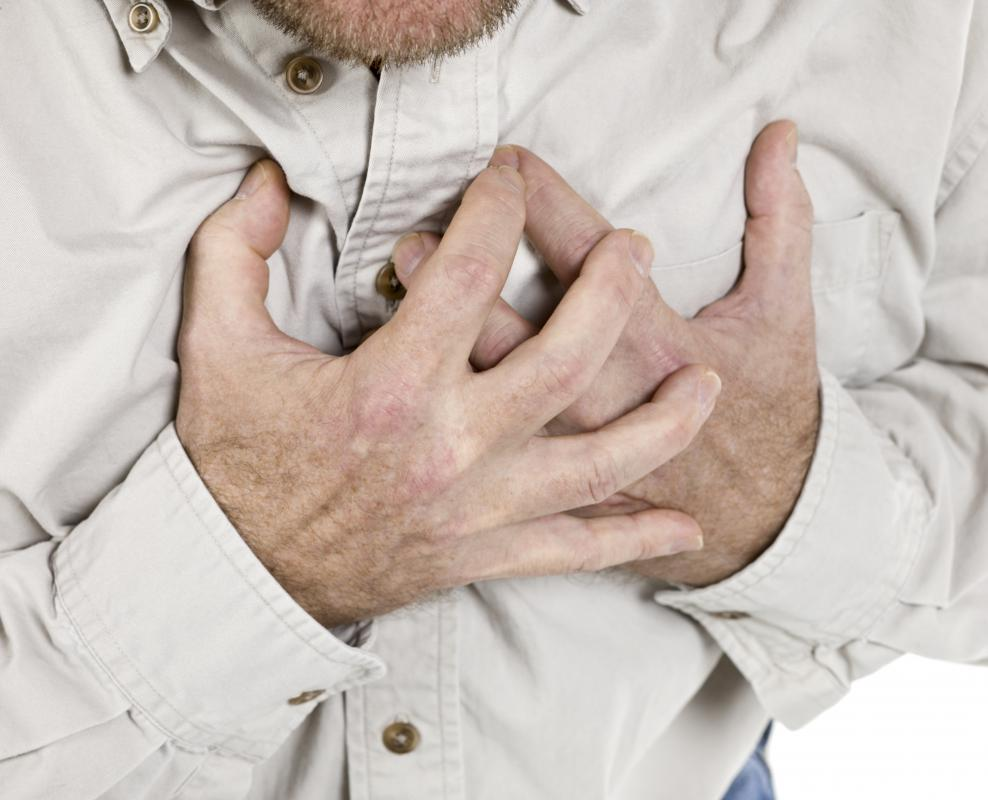 A person experiencing a panic attack may feel as though he is having a heart attack.
