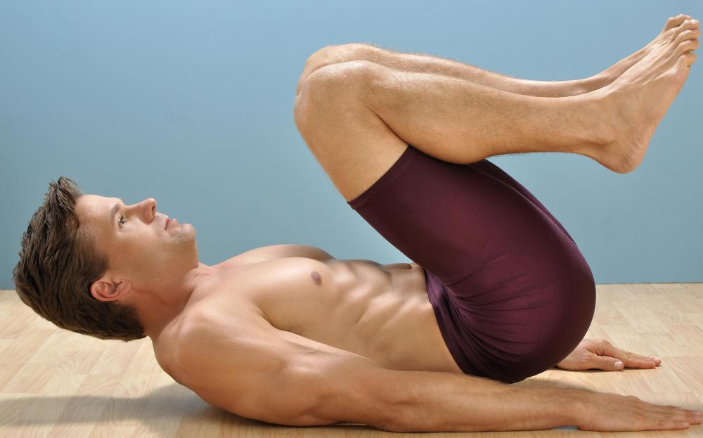 Reverse crunches target the lower abs.