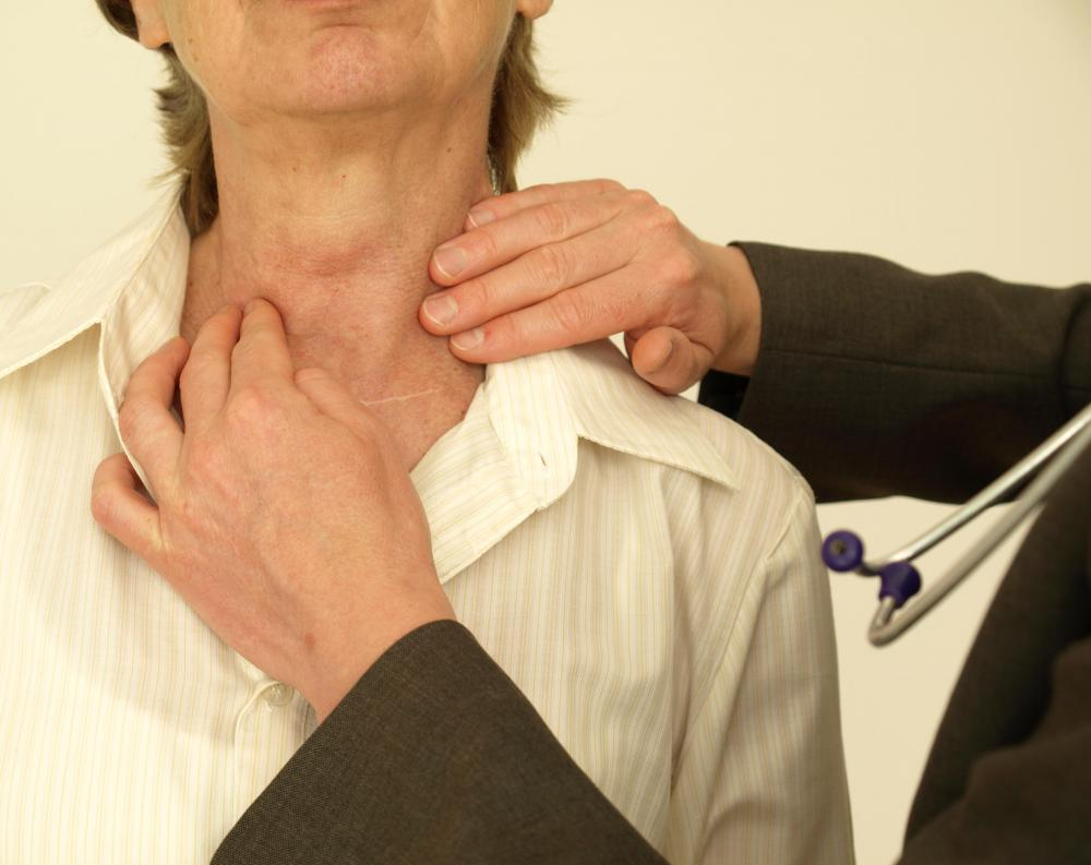 A malfunctioning thyroid is usually first detected by a physical exam of the thyroid gland, followed by blood tests.