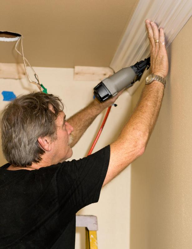 A finish mailer can be used to install crown molding.