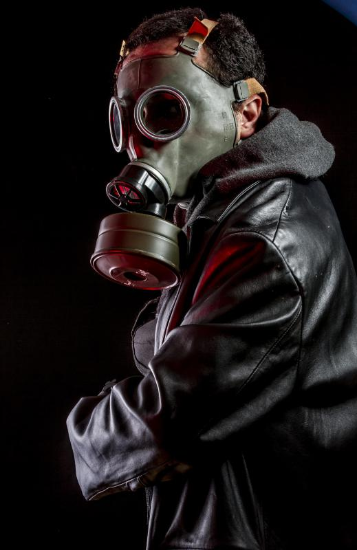 Gas masks may shield the eyes and upper face in addition to filtering the air a person breathes.