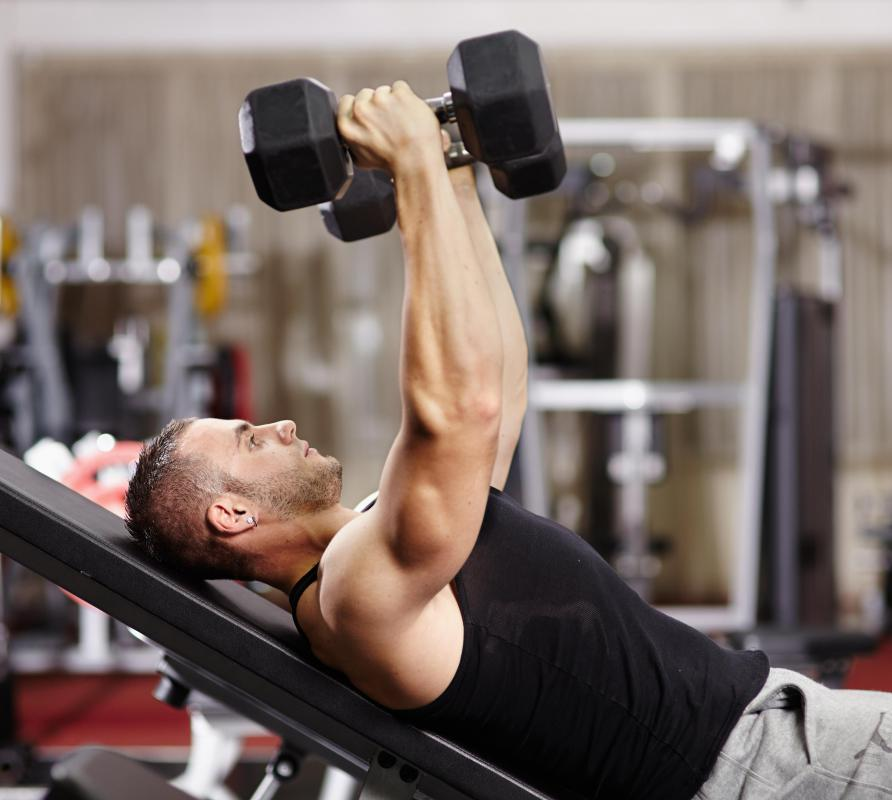Dumbbell flies can be used in a compound training routine for the pectoral muscles.