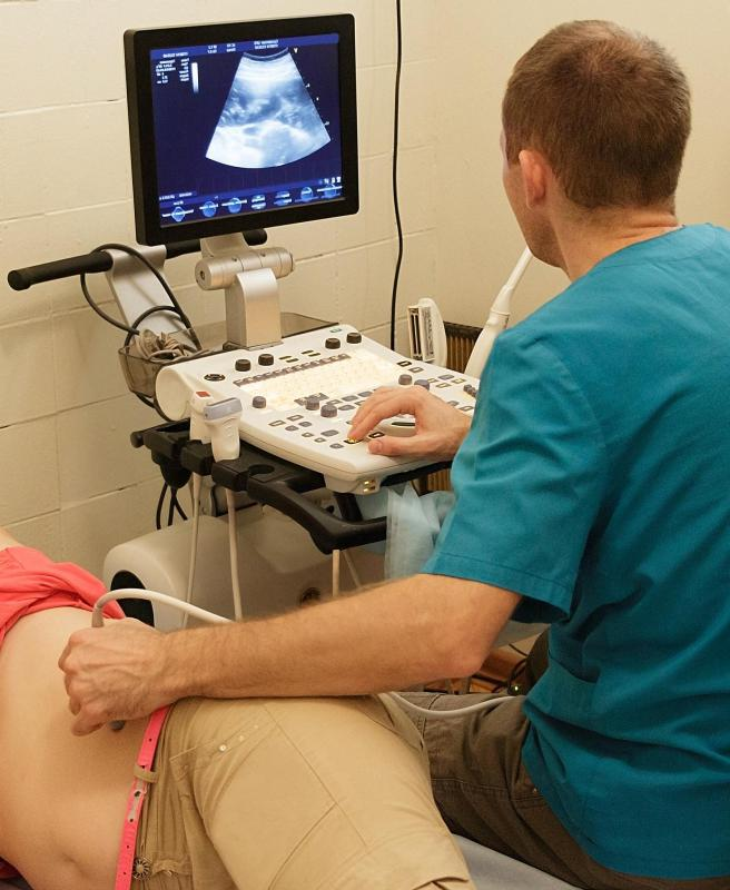 Ovarian cysts may be detected via ultrasound.