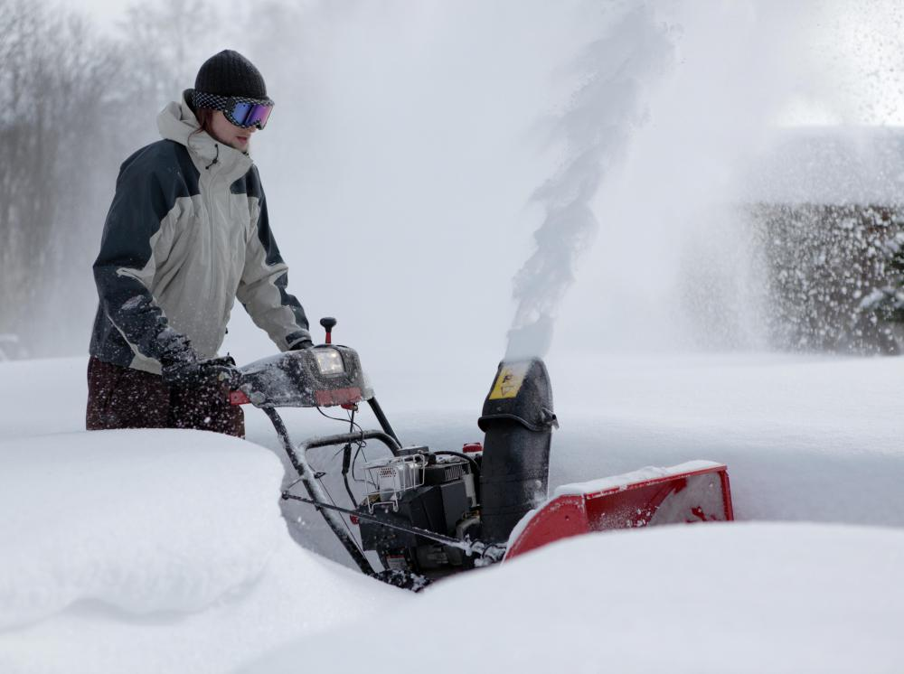 When operating a snowblower, goggles are useful to protect the eyes from errant snow or ice.