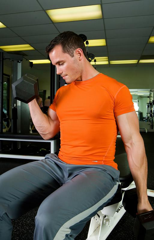 Dumbbell curls, seated or standing, are an effective way to build stronger biceps.