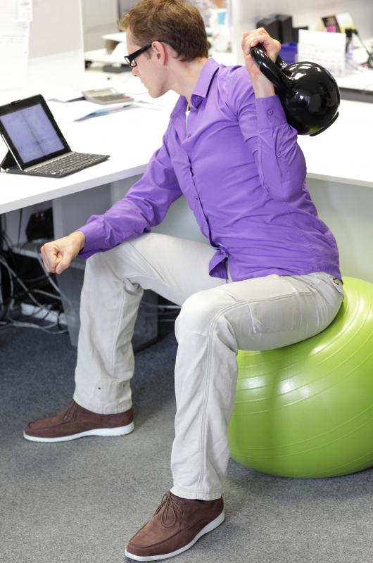 An exercise ball can be used while sitting at a computer, although not necessarily for a long period of time.