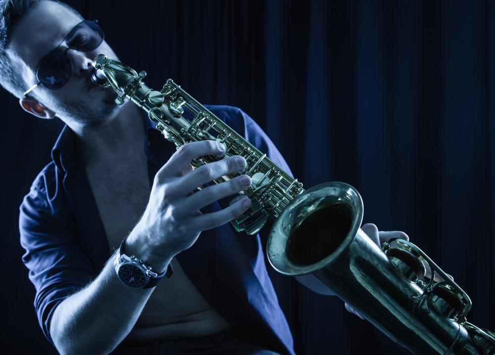 Saxophones are made of brass and commonly heard in jazz, R&B and sometimes rock.