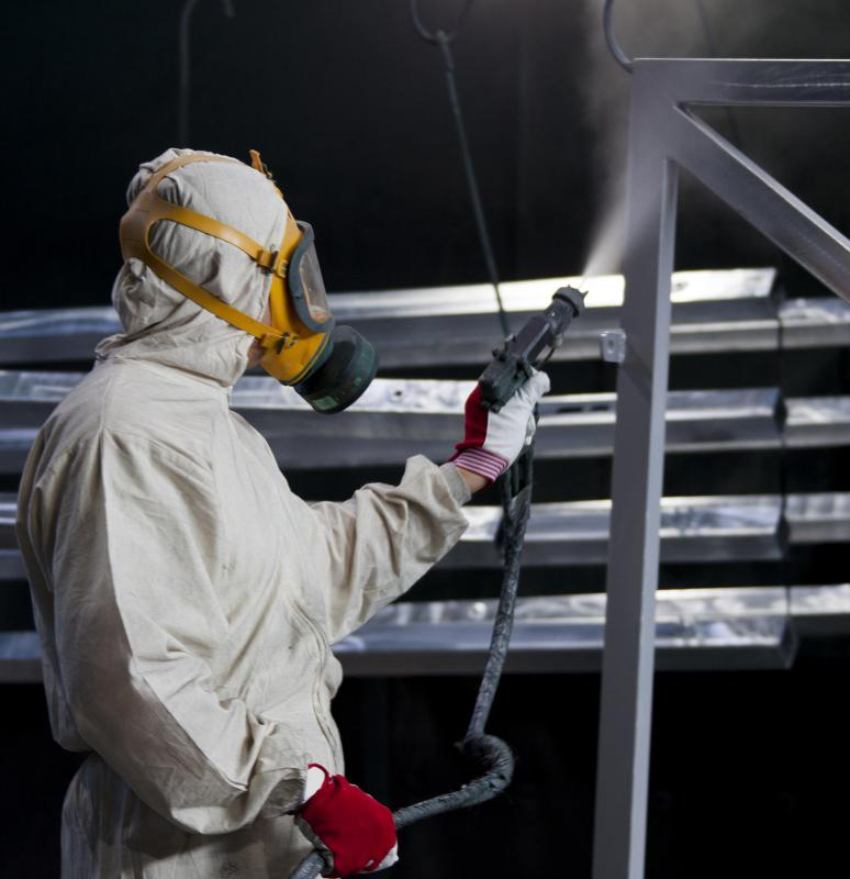 Spray painting is often used to paint large areas of galvanized steel.