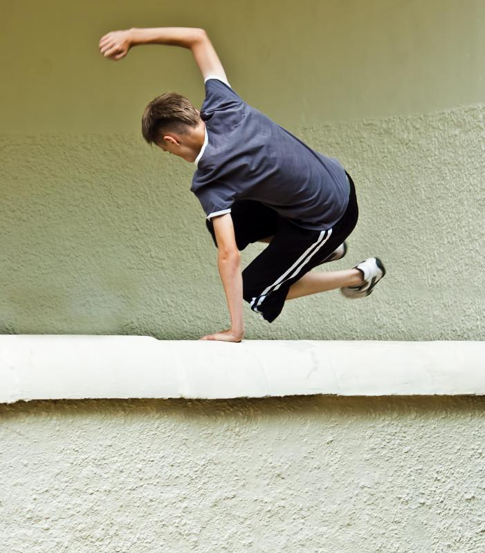 Parkour can include climbing and jumping.