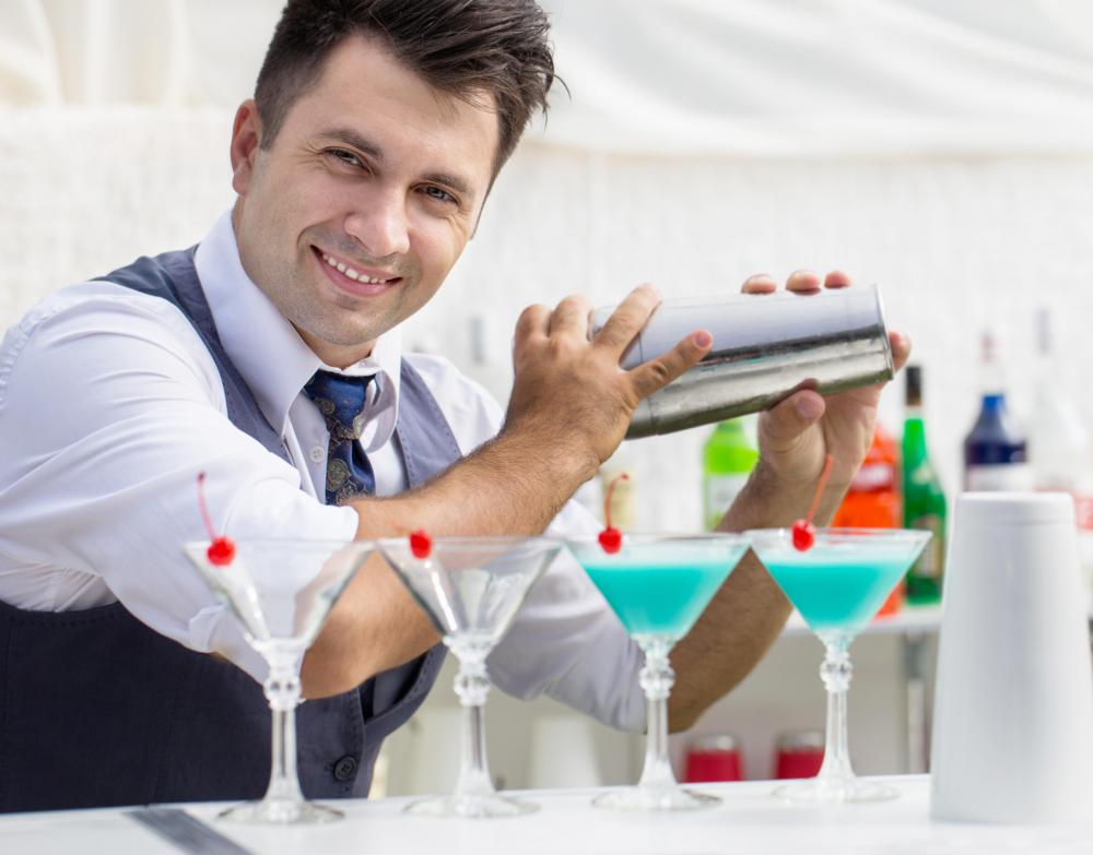 Event managers hire staff, such as bartenders, to help make an event run as smoothly as possible.