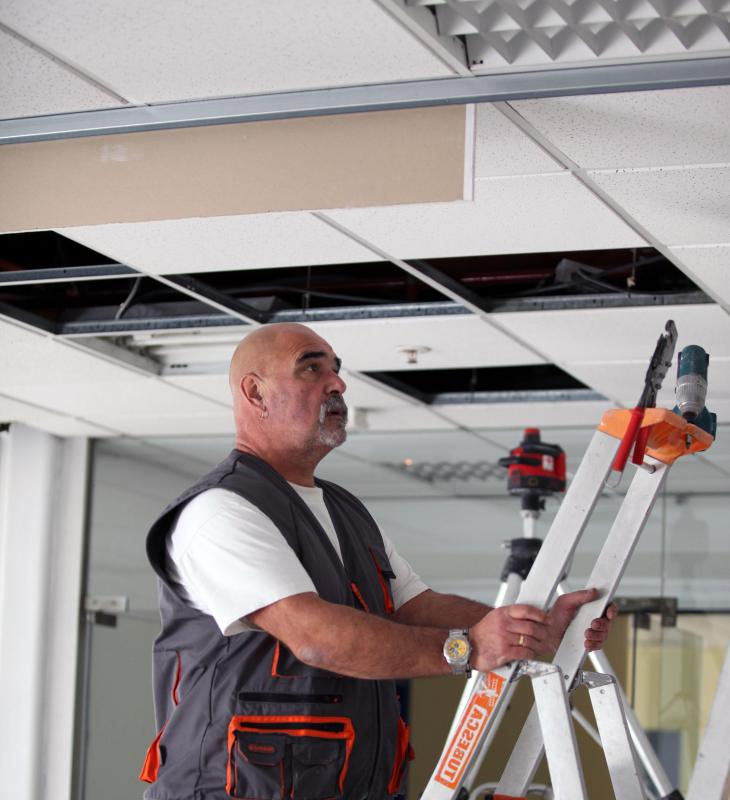 Some ceiling tiles contain asbestos.