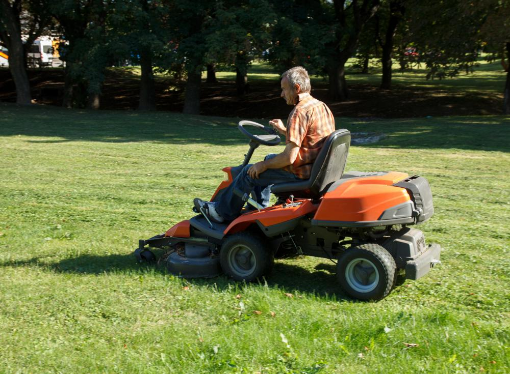 A professional riding lawn mower often has springs and cushions for a more comfortable ride.