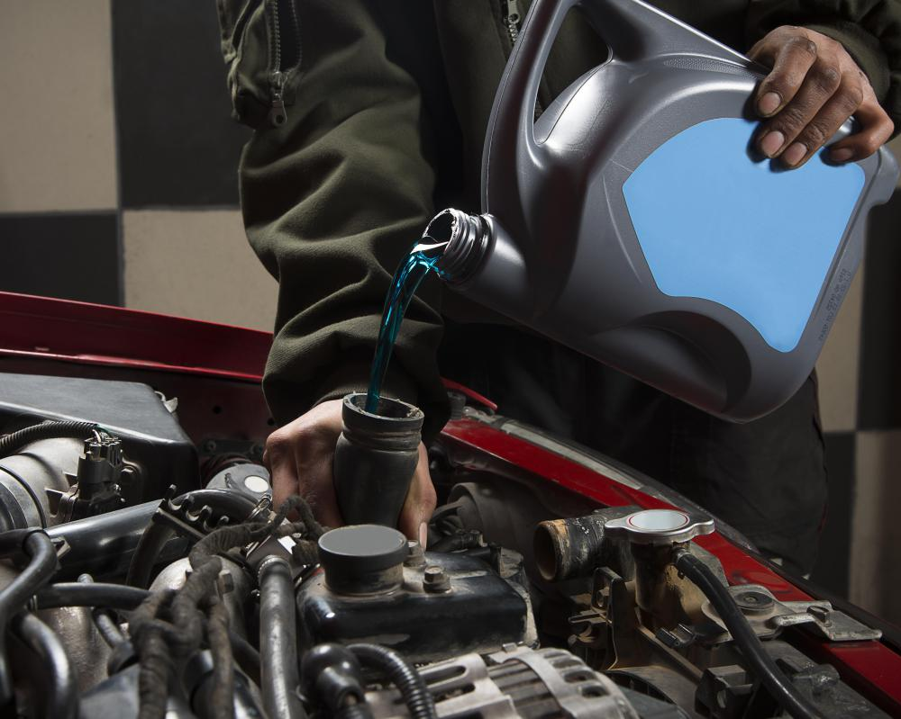 Radiator fluid helps cool an engine so that it won't overheat.